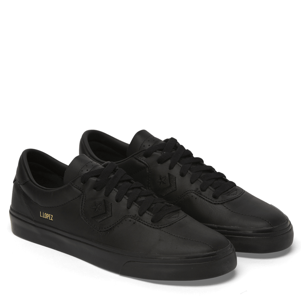 Converse Cons Leather Louie Lopez Pro Skateboarding Shoes - Black/Black/Black | Shoes by Converse Cons 3
