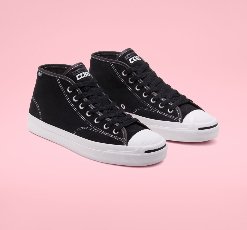 Converse Cons Jack Purcell Pro Mid Skateboarding Shoe - Black / White / Black | Shoes by Converse Cons 4