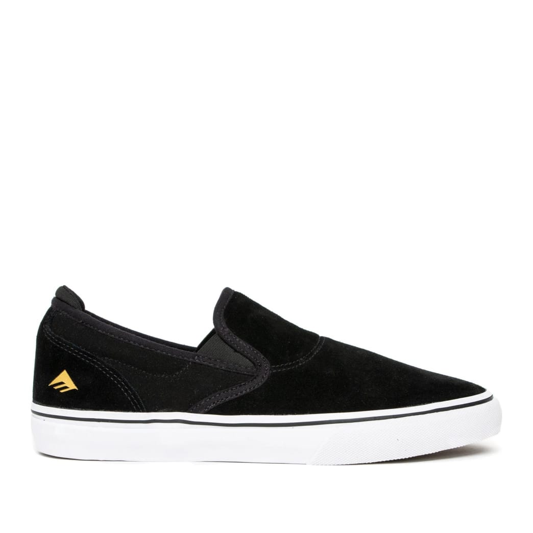 Emerica Wino G6 Slip On Skate Shoes - Black / White / Gold | Shoes by Emerica 1