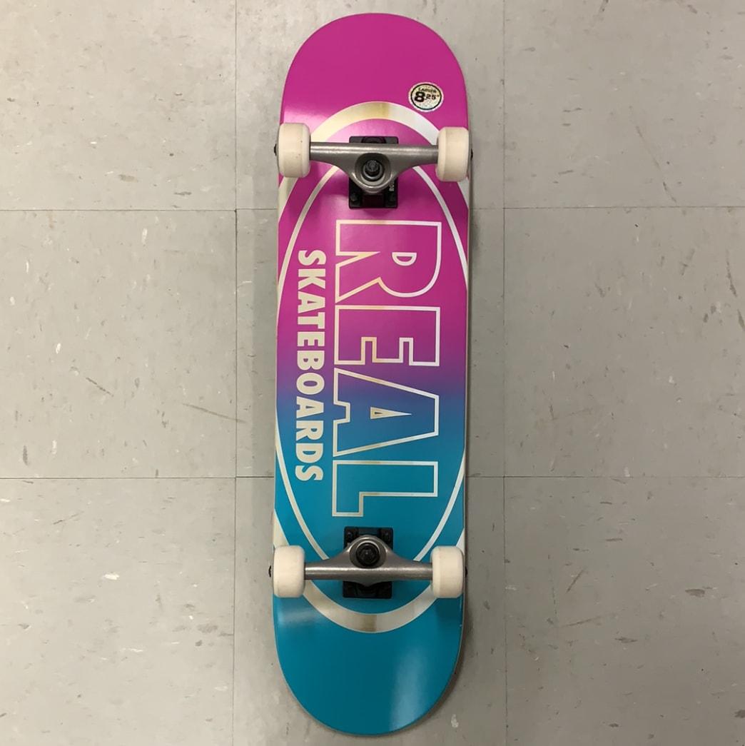 Real Skateboards Oval Logo Pink Blue Complete 8.25 Larger   Complete Skateboard by Real Skateboards 1