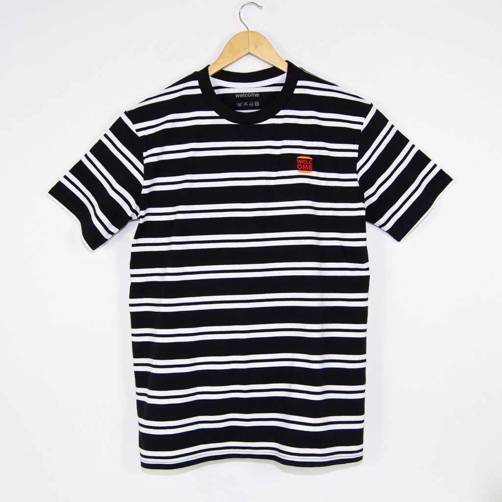 Welcome Skate Store - Burger Embroidered Striped T-Shirt - Black / White | T-Shirt by Welcome Skate Store 1