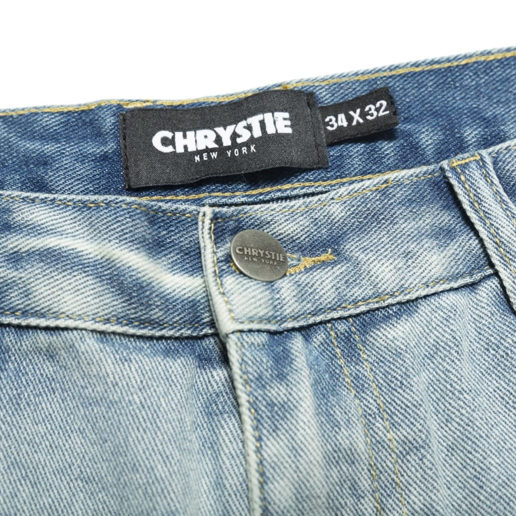Chrystie NYC Relaxed Fit Denim Pants - Washed Blue | Jeans by Chrystie NYC 4