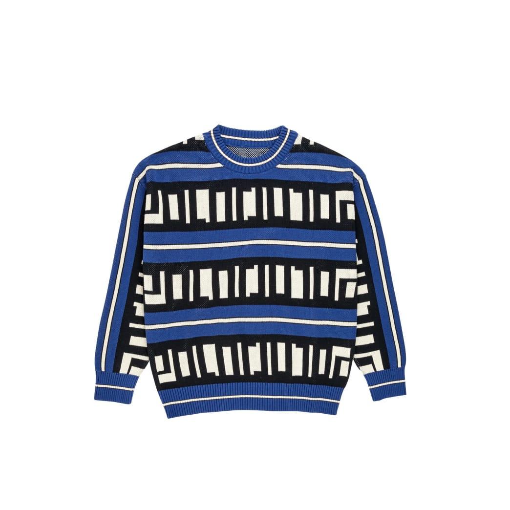 Polar Skate Co Square Logo Knitted Sweater - Blue / Black / Ivory | Sweatshirt by Polar Skate Co 1