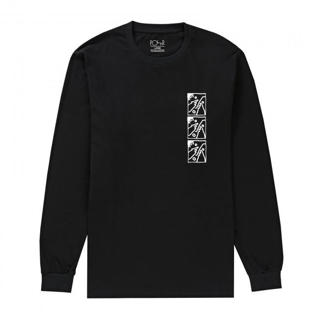 Polar Skate Co. Three Faces Long Sleeve T-Shirt - Black | Longsleeve by Polar Skate Co 1