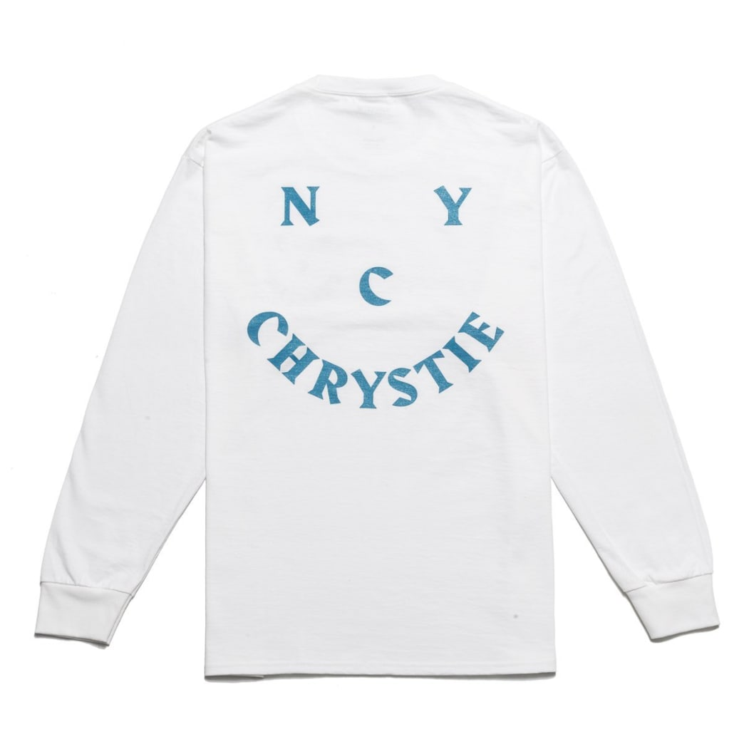 Chrystie NYC Smile Logo Long Sleeve T-Shirt - White | Longsleeve by Chrystie NYC 1