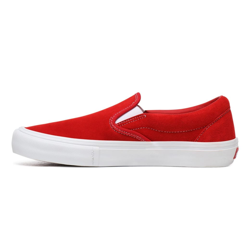 Vans Suede Slip On Pro Skate Shoes - Red / White | Shoes by Vans 3