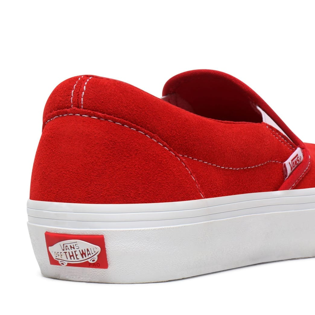 Vans Suede Slip On Pro Skate Shoes - Red / White | Shoes by Vans 6
