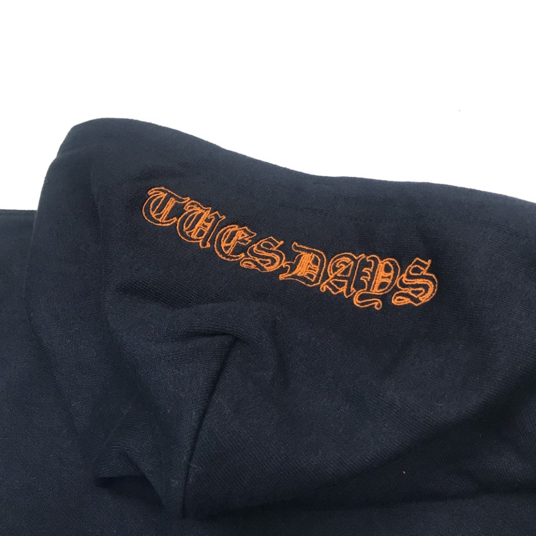 Tuesdays 'Ye Olde' Embroidered Hood Navy/Safety Orange | Hoodie by Tuesdays Skate Shop 3