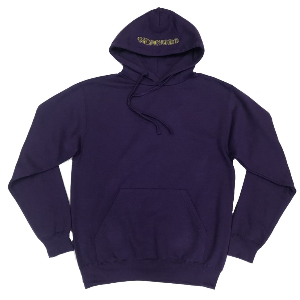 Tuesdays 'Ye Olde' Embroidered Hood Purple/Yellow | Hoodie by Tuesdays Skate Shop 2
