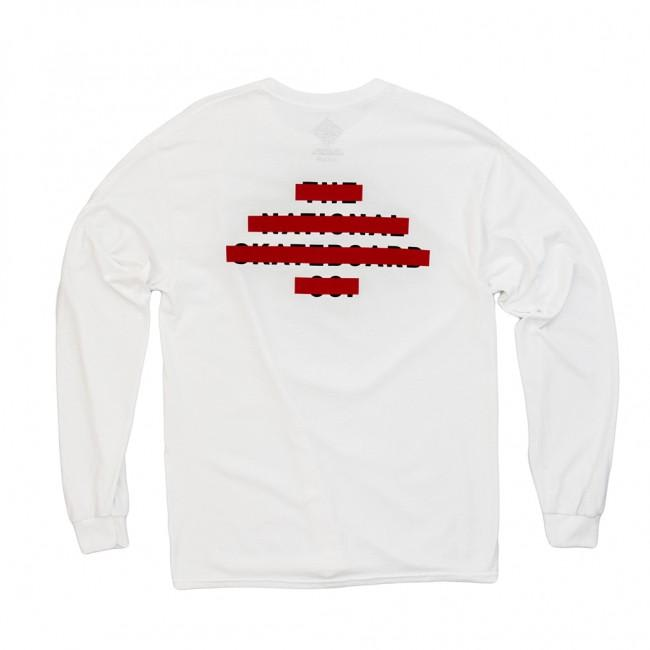 The National Skateboard Co. Redacted Long Sleeve T-Shirt - White / Red | Longsleeve by The National Skateboard Co. 1