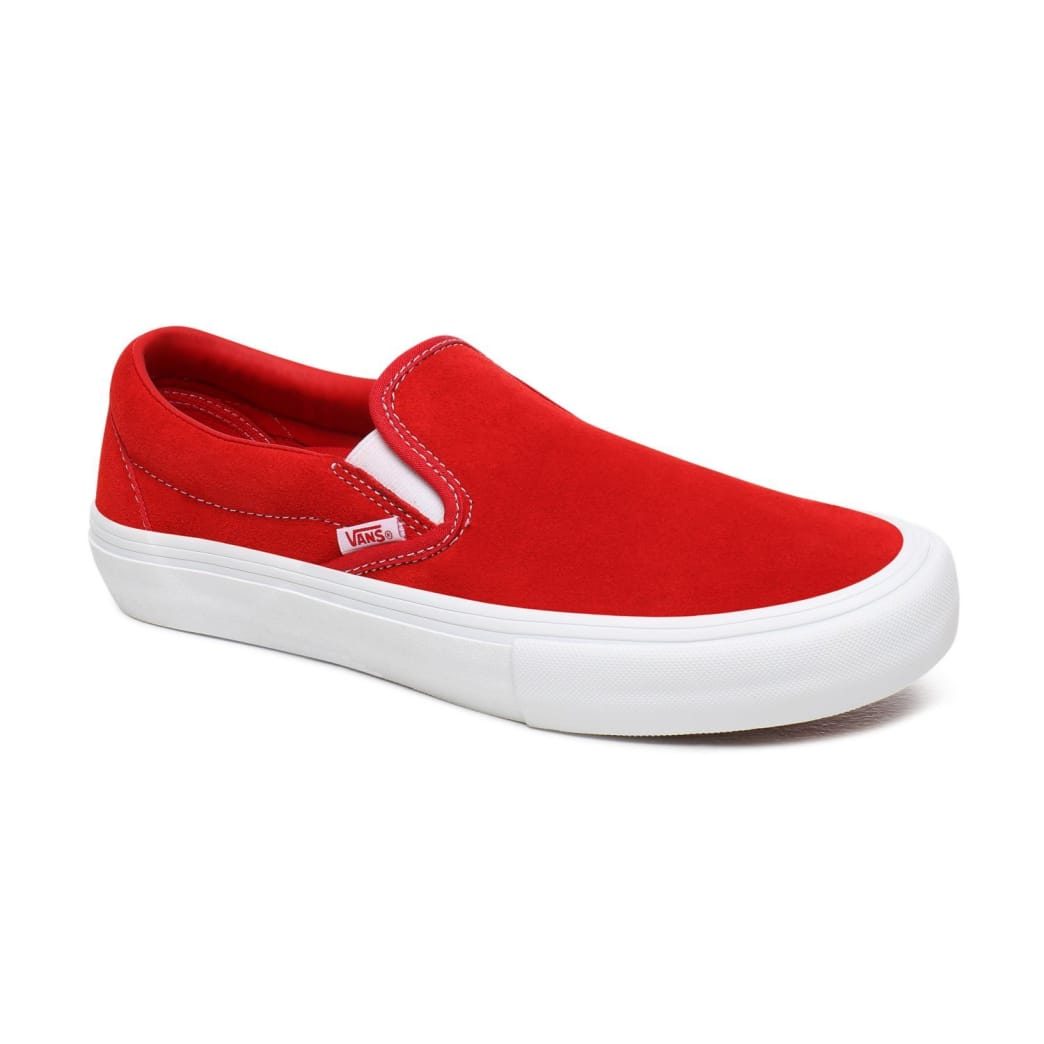 Vans Suede Slip On Pro Skate Shoes - Red / White | Shoes by Vans 4