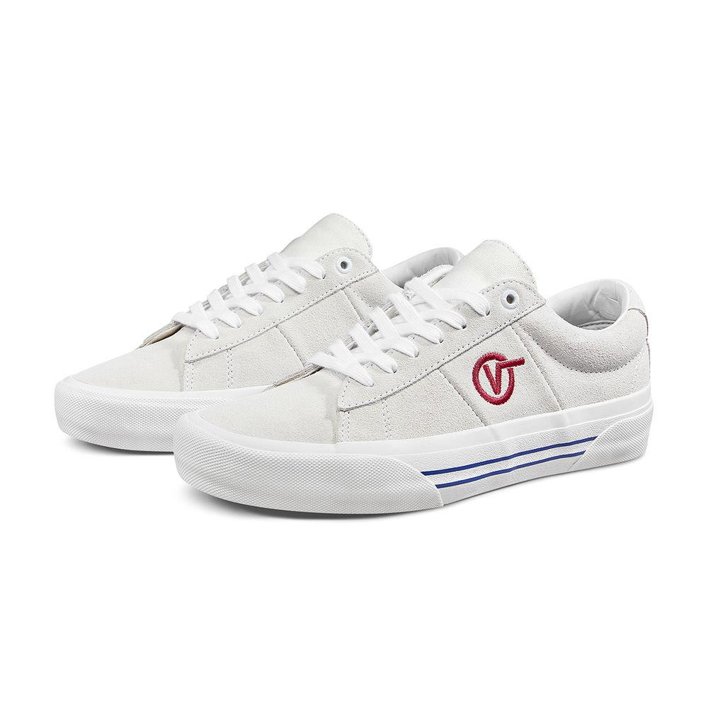 Vans Saddle Sid Pro Skateboard Shoes - Marshmallow/Racing Red | Shoes by Vans 1