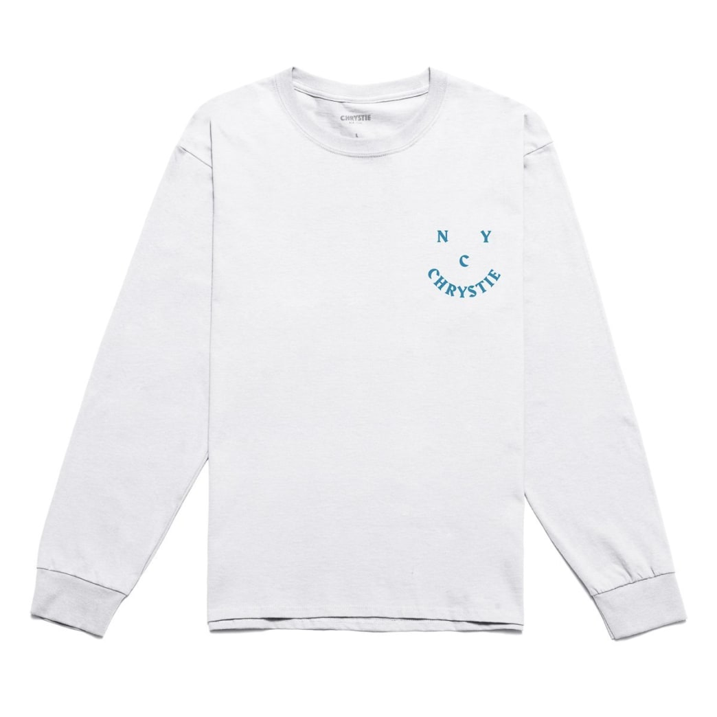 Chrystie NYC Smile Logo Long Sleeve T-Shirt - White | Longsleeve by Chrystie NYC 2