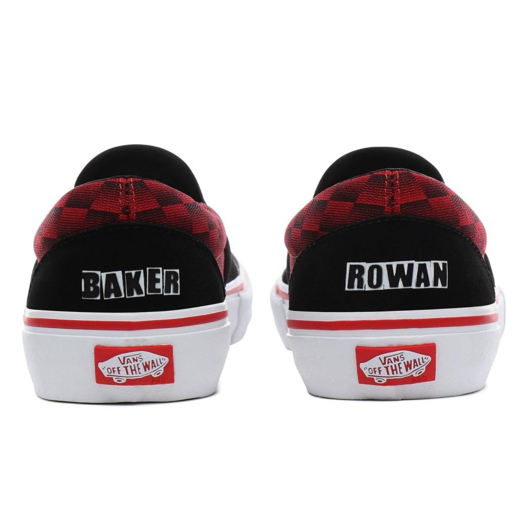 Vans x Baker Slip On Pro Skateboard Shoes - Rowan/Speed Check | Shoes by Vans 7