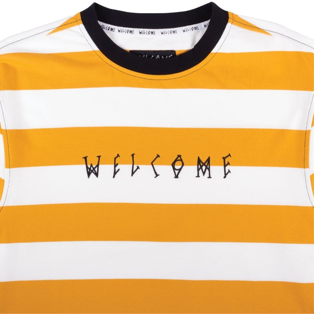 Welcome Skateboards Thicc Stripe Yarn Dyed Long Sleeve Knit T-Shirt - Gold / White | Longsleeve by Welcome Skateboards 2