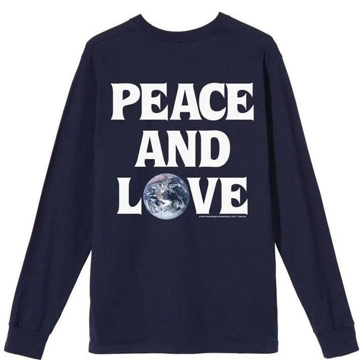 Stüssy Peace & Love Long Sleeve T-Shirt - Navy | Longsleeve by Stüssy 1