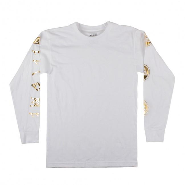 Welcome Skateboards Binary Long Sleeve T-Shirt - White / Gold | Longsleeve by Welcome Skateboards 1