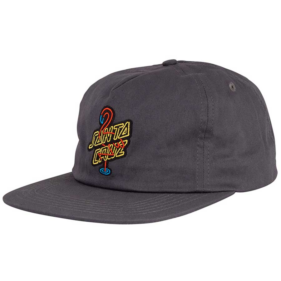 SANTA CRUZ Glow Snapback Hat Charcoal | Snapback Cap by Santa Cruz Skateboards 1