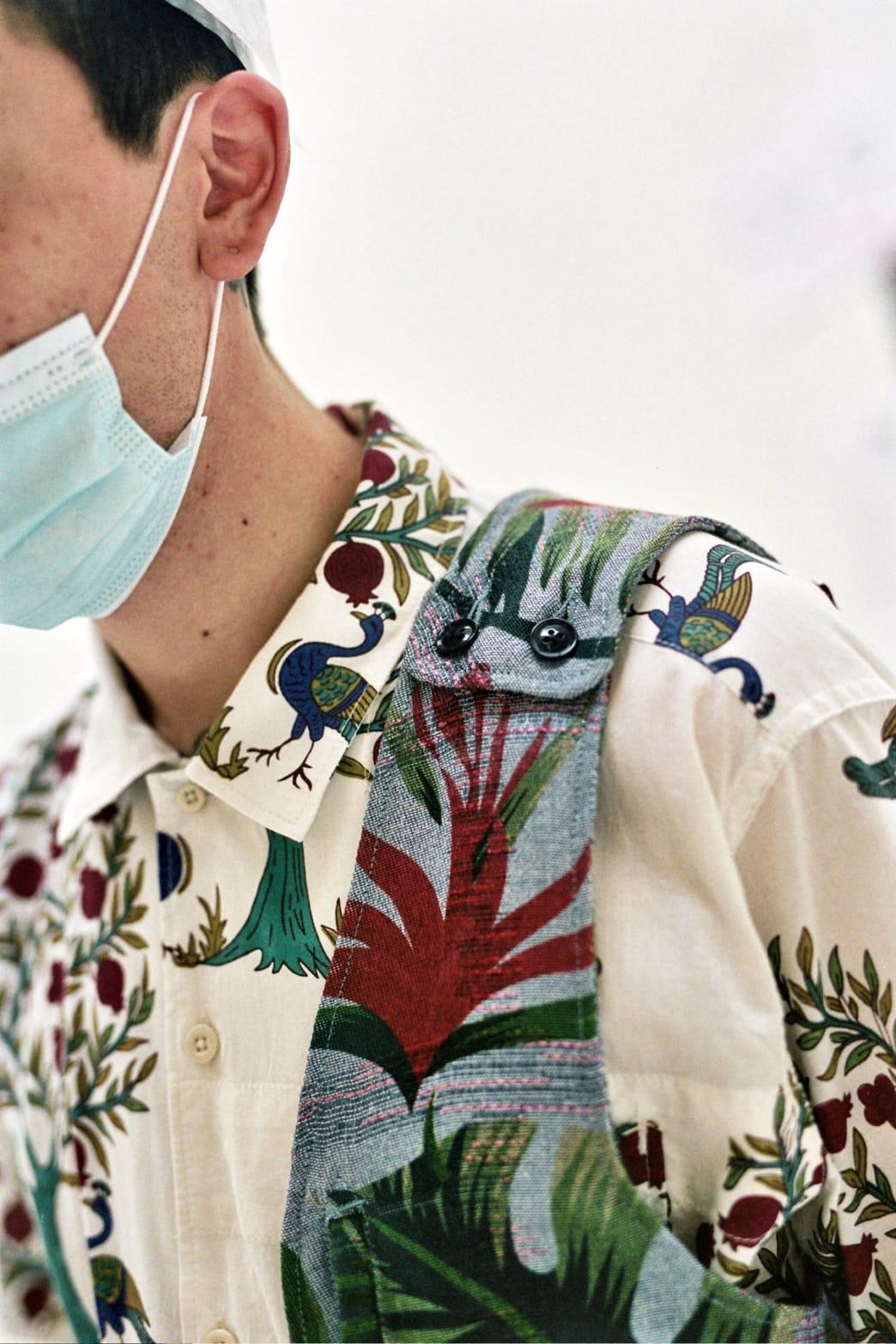 Shoulder Vest Light Blue Polyester Big Floral Print | Vest by Engineered Garments 1