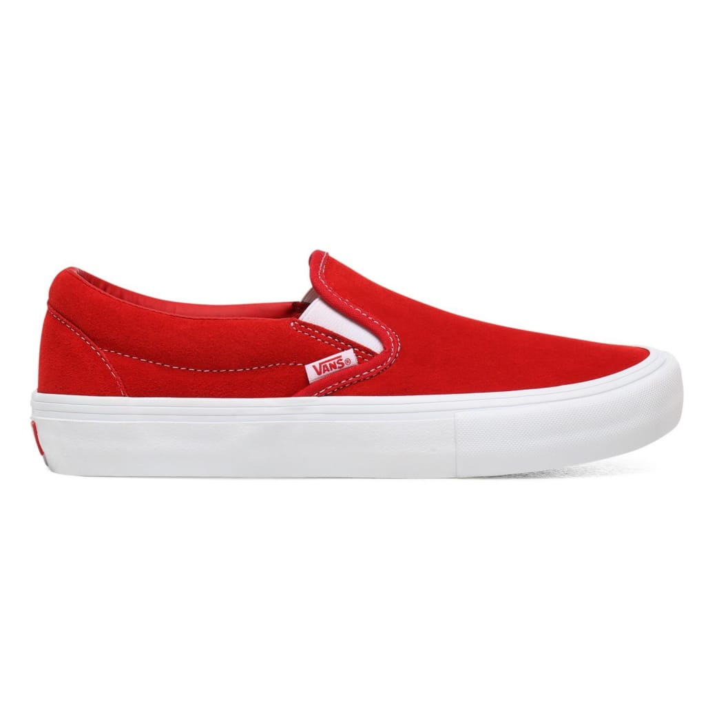 Vans Suede Slip On Pro Skate Shoes - Red / White | Shoes by Vans 1