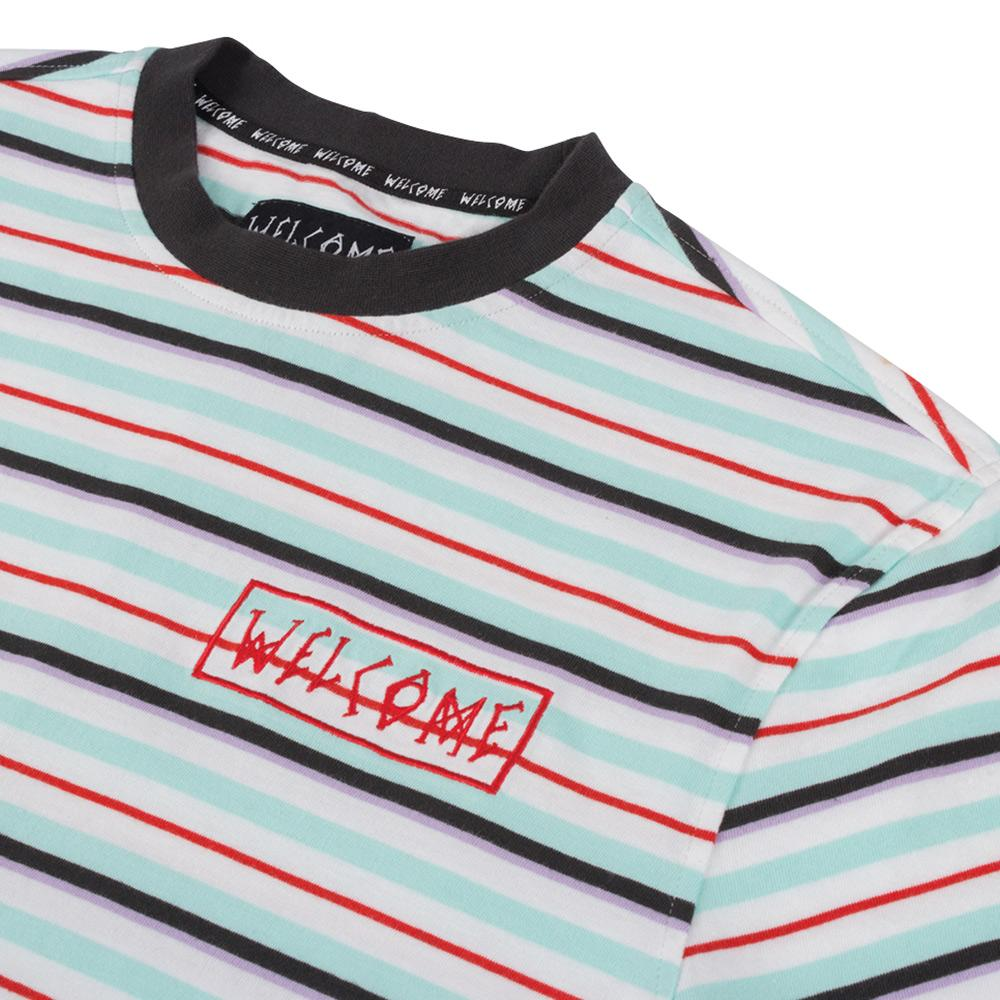 Welcome Surf Stripe Longsleeve T-Shirt - White-Red | Longsleeve by Welcome Skateboards 3
