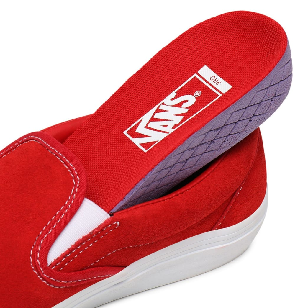 Vans Suede Slip On Pro Skate Shoes - Red / White | Shoes by Vans 7