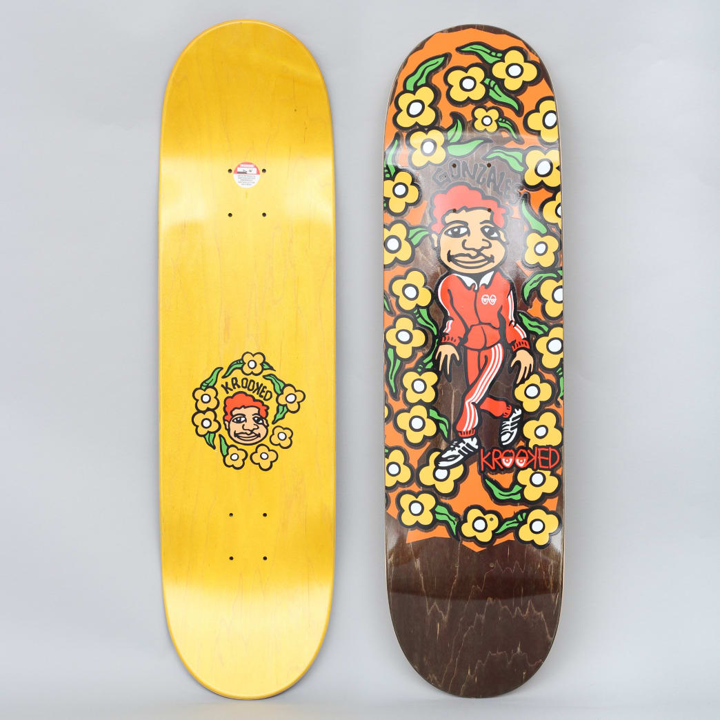 Krooked 8.5 Gonz Sweatpants Pro Skateboard Deck Brown | Deck by Krooked Skateboards 1