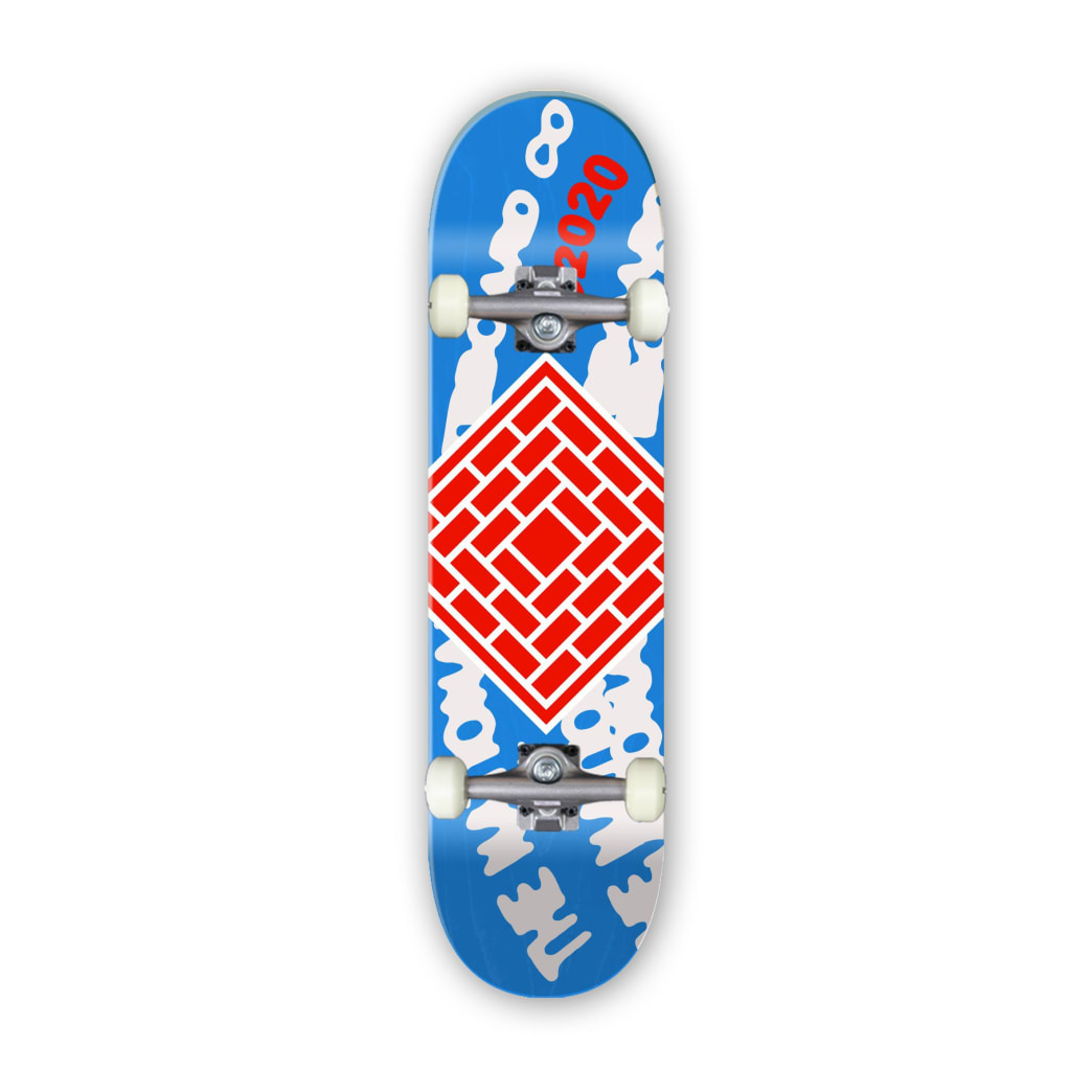 """The National Skateboard Co. Whirl Logo (Colours Vary) Complete Skateboard 8.5"""" 