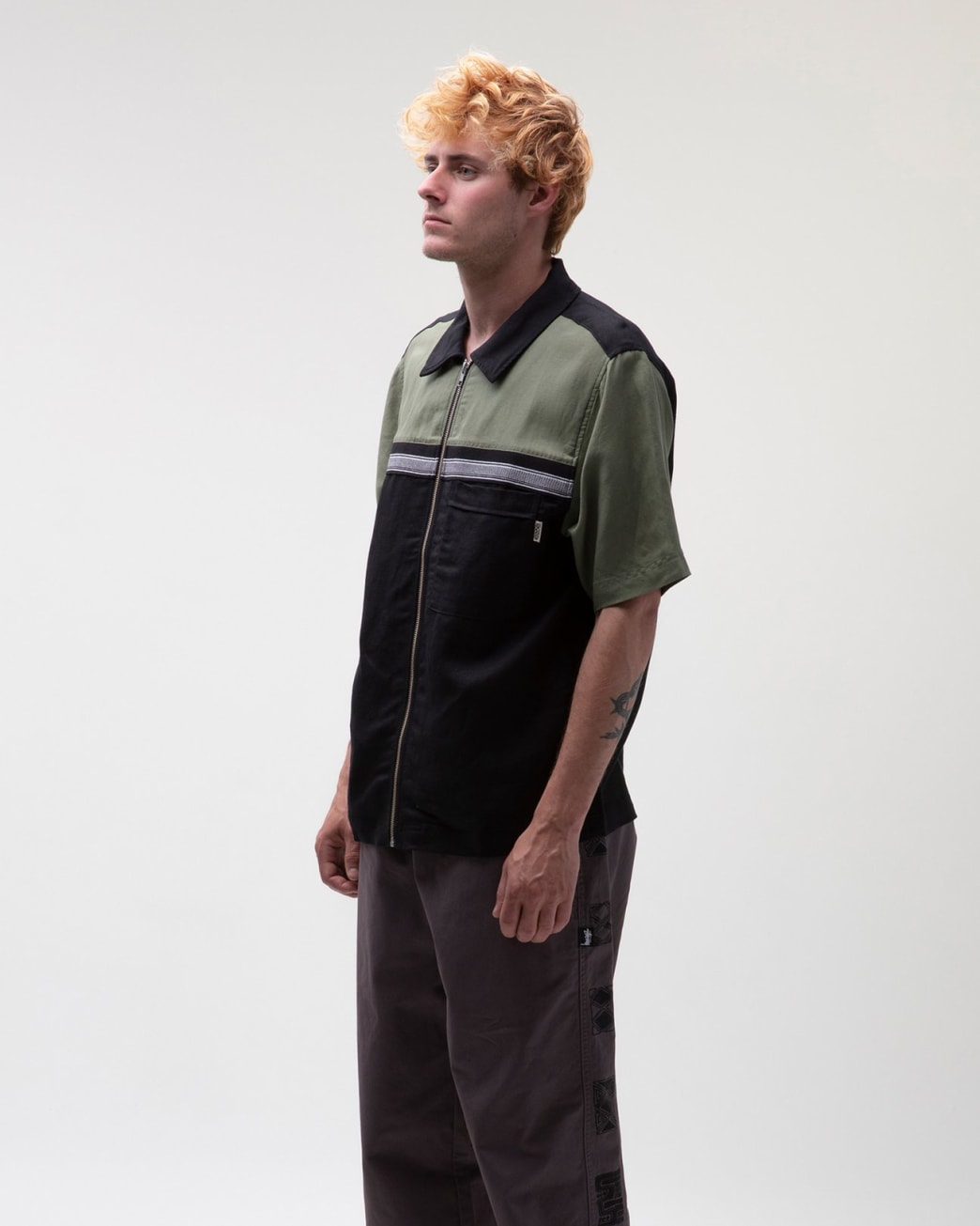 Stussy - Color Block Zip Work Shirt - Olive | Shirt by Stussy 4