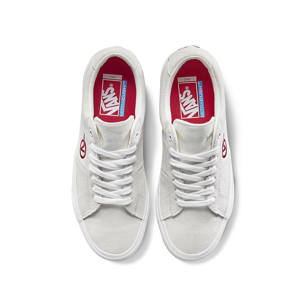 Vans Saddle Sid Pro Skateboard Shoes - Marshmallow/Racing Red | Shoes by Vans 2