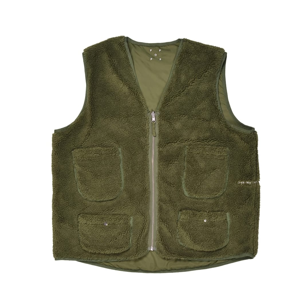 Pop Trading Company - Reversible Vest - Hunting Green | Gilet by Pop Trading Company 1