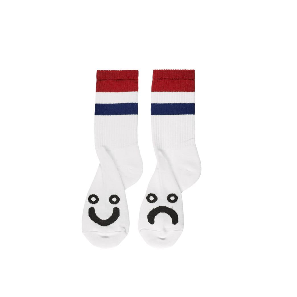 Polar Skate Co Happy Sad Socks Stripes - White / Red / Navy | Socks by Polar Skate Co 1