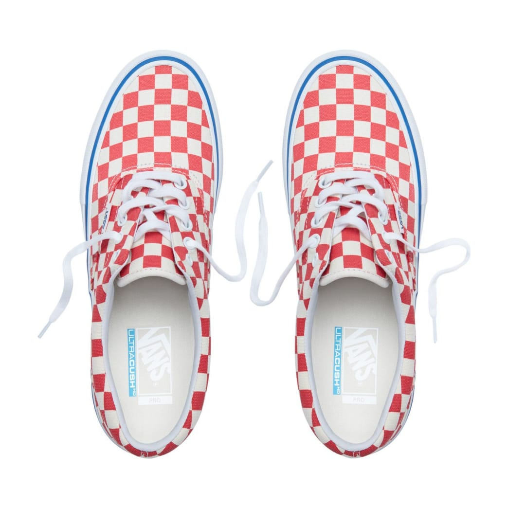 Vans Checkerboard Era Pro Skateboard Shoes - Rococco Red/Classic White | Shoes by Vans 2