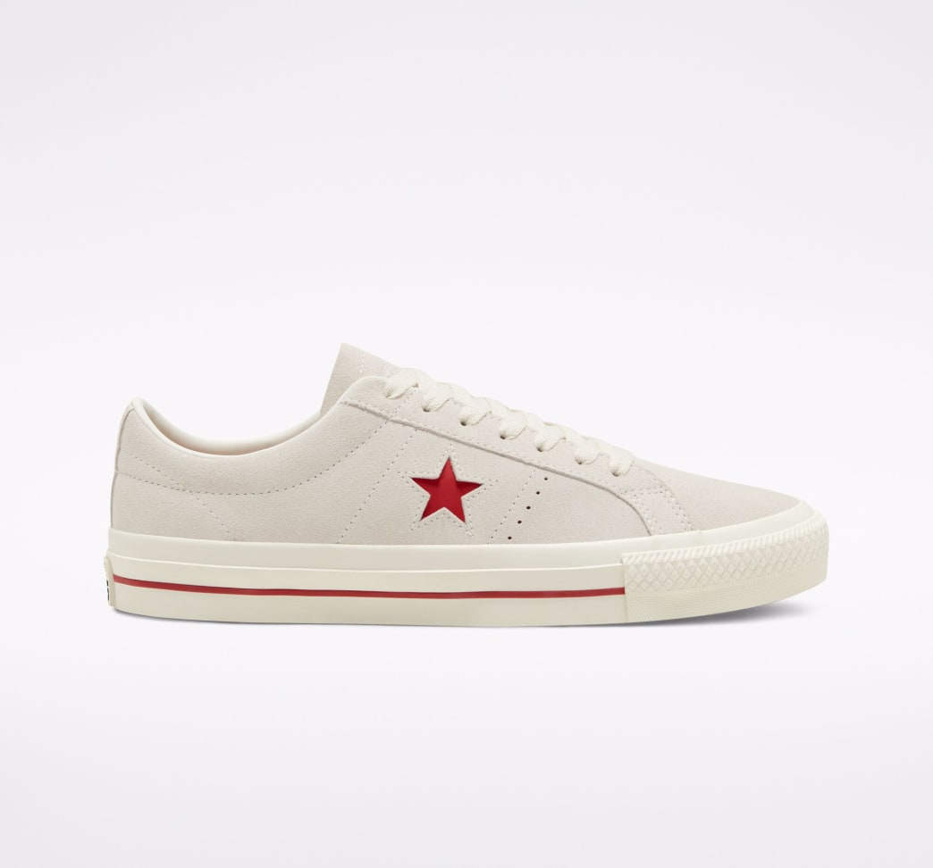 Converse Cons One Star Pro Ox Skate Shoe - Egret / Claret Red / Egret | Shoes by Converse Cons 1