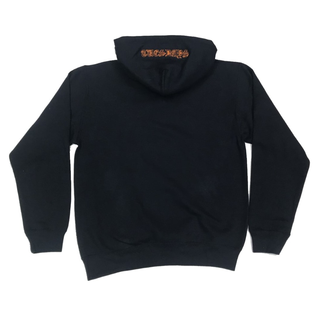 Tuesdays 'Ye Olde' Embroidered Hood Navy/Safety Orange | Hoodie by Tuesdays Skate Shop 1