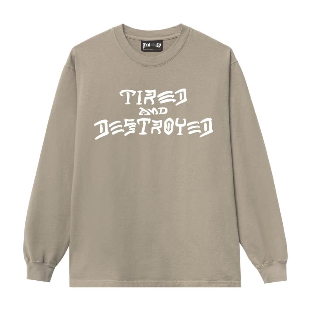 Tired x Thrasher Destroyed Long Sleeve T-Shirt - Sand   Longsleeve by Tired Skateboards 1