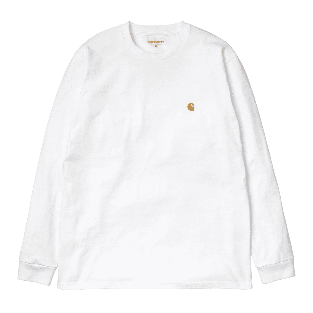 Carhartt WIP L/S Chase T-Shirt - White/Gold | Longsleeve by Carhartt WIP 1