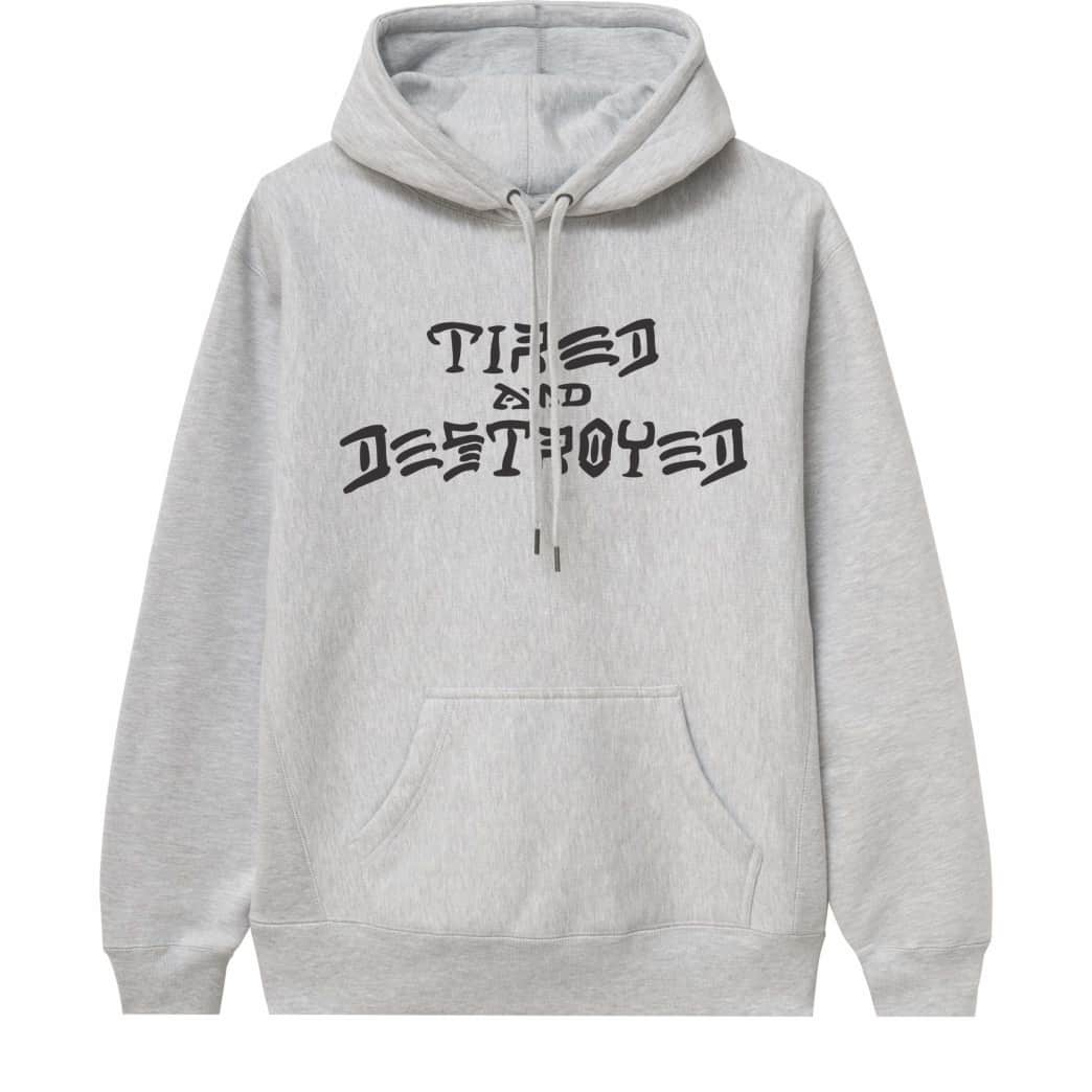 Tired x Thrasher Destroyed Hoodie - Heather Grey | Hoodie by Tired Skateboards 1