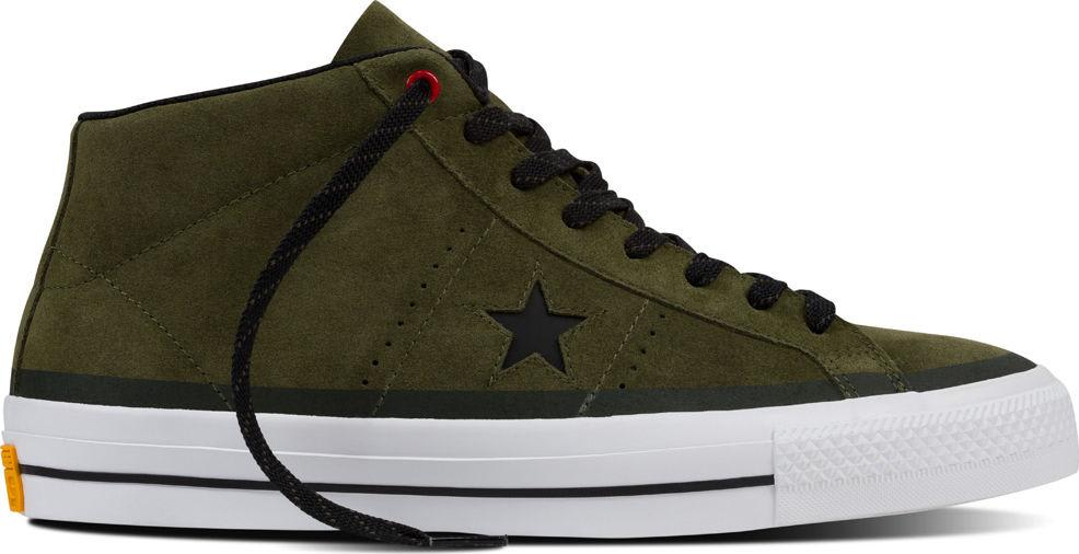 CONVERSE ONE STAR PRO MID HERBAL GREEN BLACK WHITE