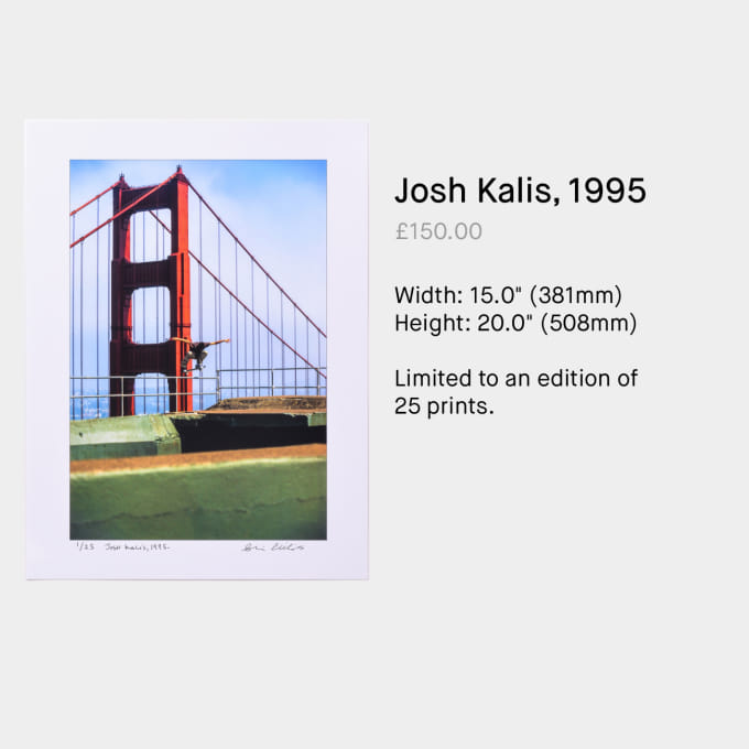 Josh Kalis, 1995 by Skin Phillips. Skateboard photography available to buy on Paradeworld.com