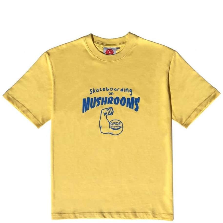 Stingwater Skateboarding on Mushrooms T Shirt - Ghee Yellow | T-Shirt by Stingwater 1