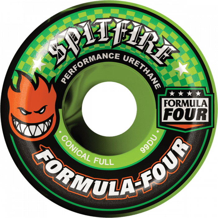 Spitfire Wheels Formula Four 53mm Full Conical Neon Green/Black Swirls | Wheels by Spitfire Wheels 1
