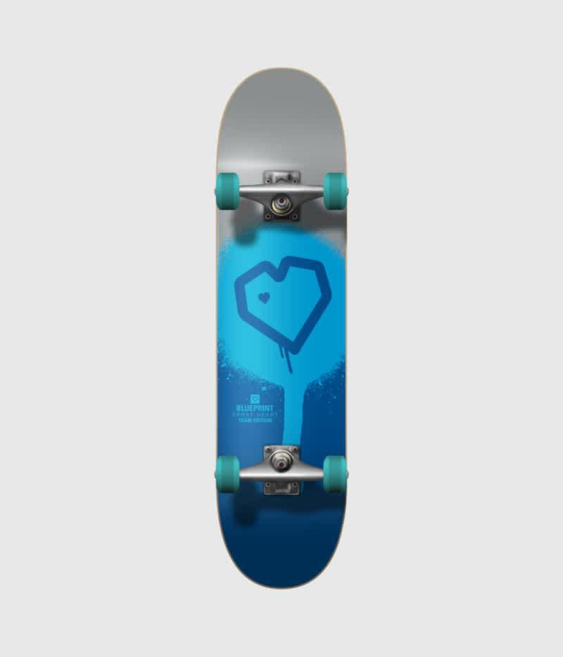 "Blueprint Skateboards Spray Heart Silver/Blue Complete Skateboard 7.75""   Complete Skateboard by Blueprint Skateboards 1"