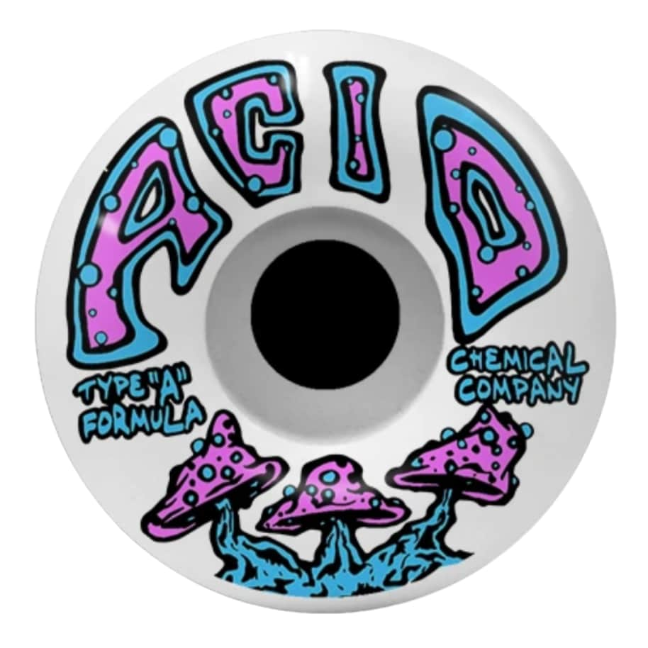 Acid Chemical Wheels Shrooms Type A White 52mm,53mm,54mm 99a   Wheels by Acid Chemical Co. 1