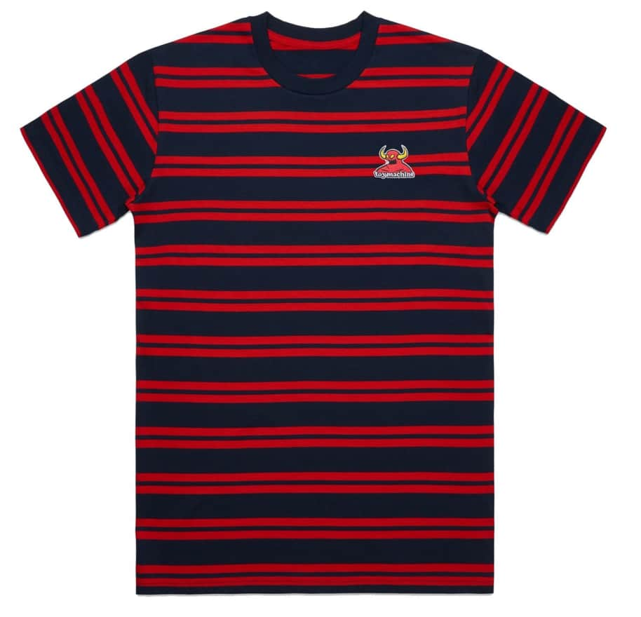 Toy Machine Striped Monster Embroidery Tee Navy/Red | T-Shirt by Toy Machine 1