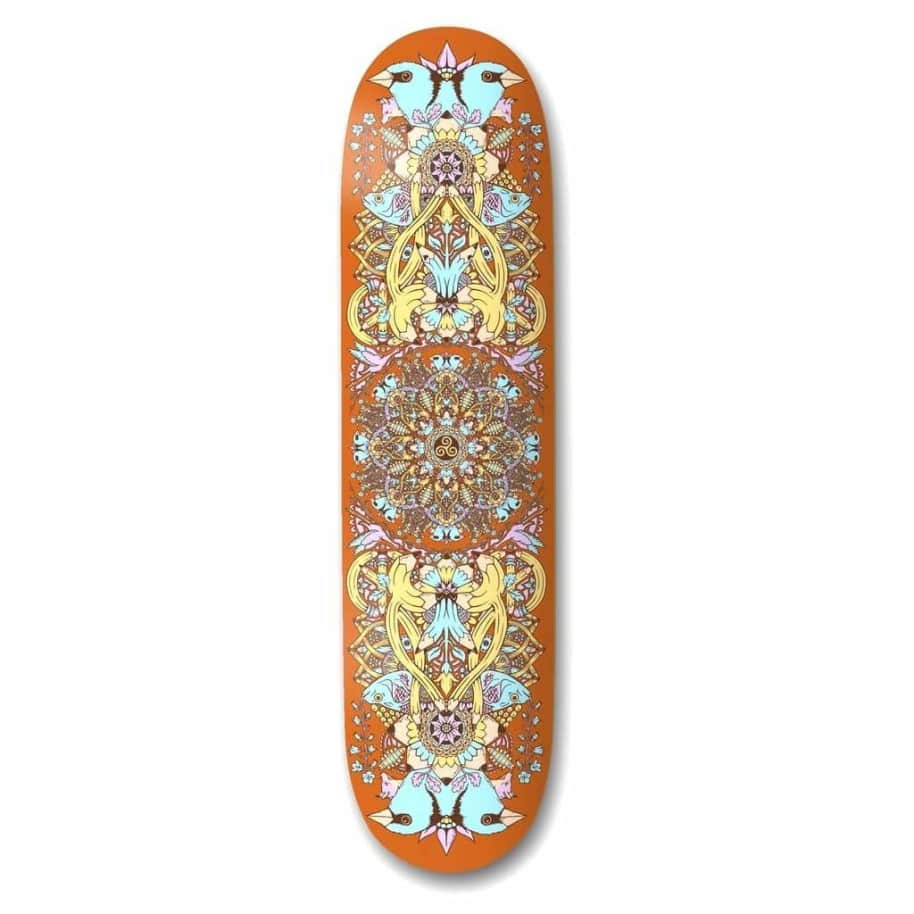 """The Drawing Boards Mandala Orange Skateboard Deck 8.5"""" 