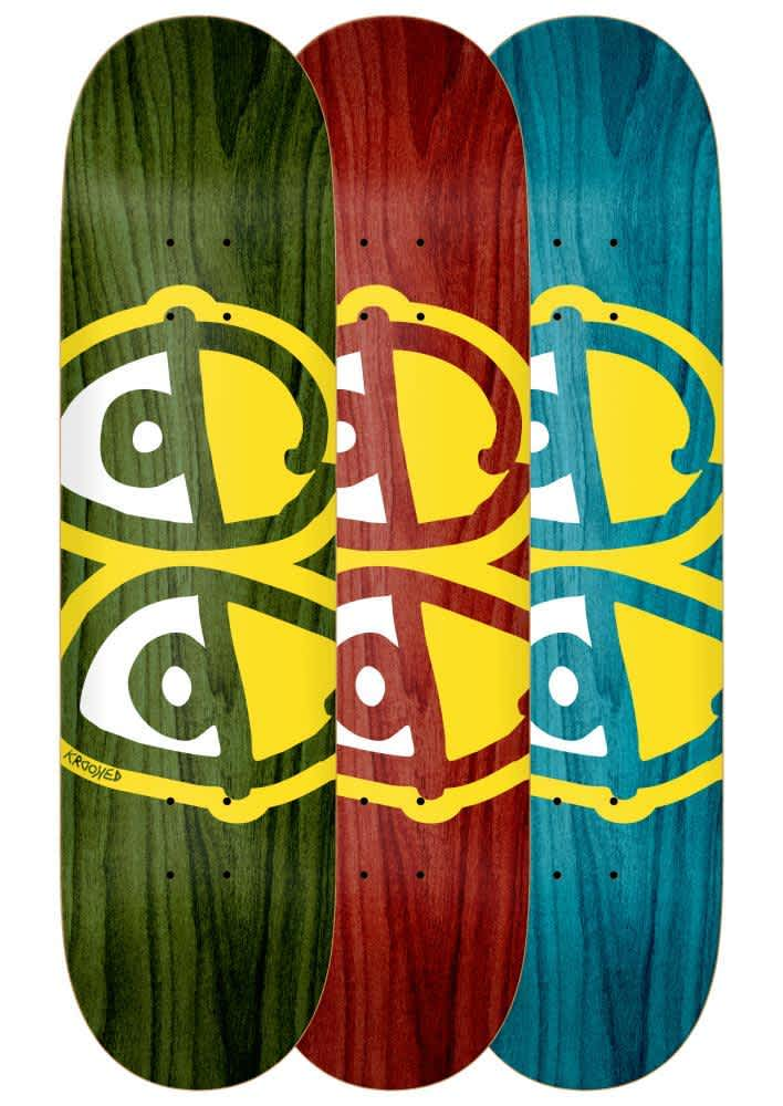 Krooked Team Eyes Deck Yellow Assorted Woodstains & Sizes | Deck by Krooked Skateboards 1