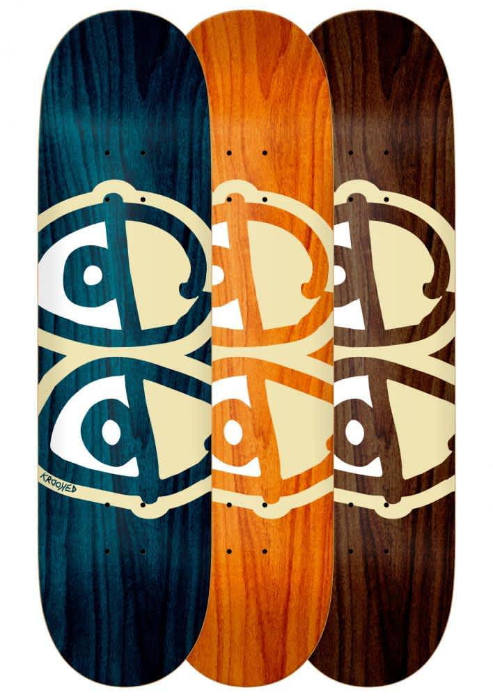 Krooked Team Eyes Deck White Assorted Woodstains & Sizes | Deck by Krooked Skateboards 1