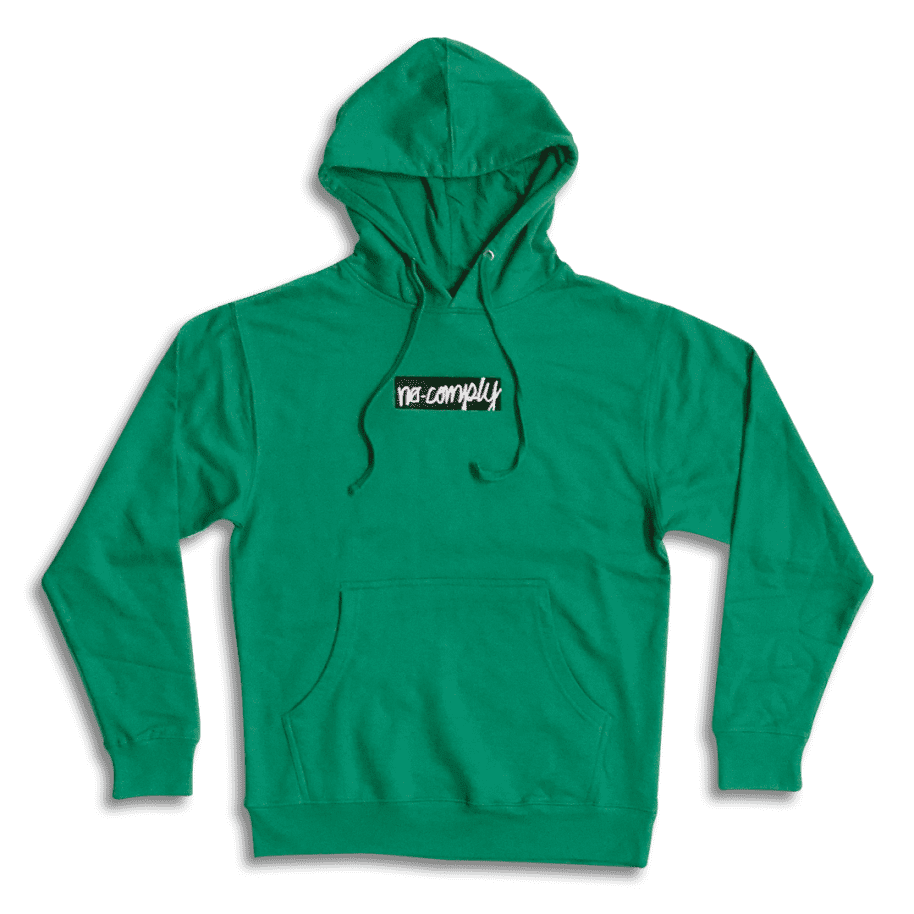 No-Comply Embroidered Script Box Pull Over Hoodie - Kelly Green | Hoodie by No Comply 1
