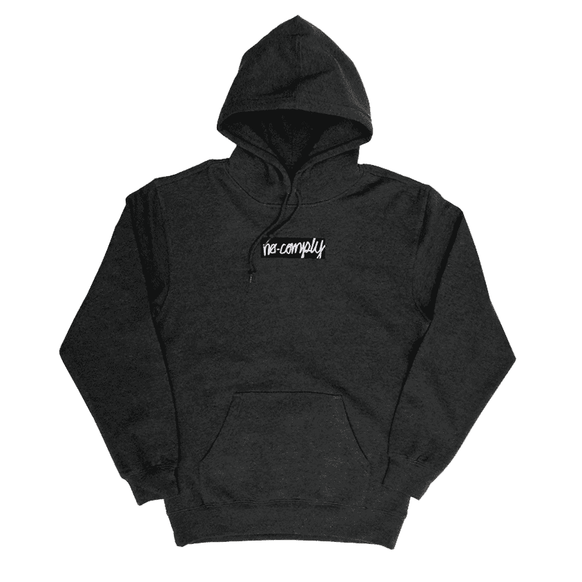 No-Comply Embroidered Script Box Pull Over Hoodie - Gunmetal Grey | Hoodie by No Comply 1